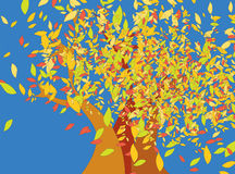 Árboles del otoño con las hojas que caen ilustración del vector