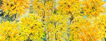 Árboles del otoño Paisaje de la acuarela de la pintura stock de ilustración
