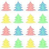 Árboles del vector de la Navidad en cuatro colores Fotos de archivo