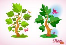 Árboles Dreamlike del vector ecolog?a y el cultivar un huerto Pájaro colorido, mariposa, flores, hierba y césped verde stock de ilustración
