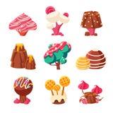 Árboles dulces de la fantasía fijados stock de ilustración
