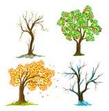 Árboles en estaciones Stock de ilustración