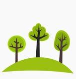 Árboles en la colina stock de ilustración