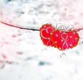 Árboles en la nieve Corazón Tarjeta del día de fiesta Fotografía de archivo