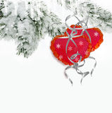 Árboles en la nieve Corazón Tarjeta del día de fiesta Imagen de archivo libre de regalías