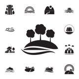 árboles en un icono de la colina Sistema detallado de iconos de los paisajes Diseño gráfico superior Uno de los iconos de la cole libre illustration