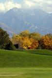 Árboles en un parque con las montañas en el fondo Imagen de archivo