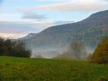 Árboles en un tiempo brumoso del otoño del campo Niebla de la madrugada y montaña de la nube Foto de archivo