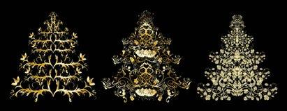 Árboles florales de la Navidad o del Año Nuevo Imágenes de archivo libres de regalías