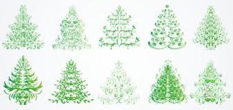 Árboles florales de la Navidad o del Año Nuevo Foto de archivo libre de regalías