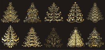 Árboles florales de la Navidad o del Año Nuevo Imagenes de archivo