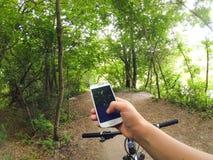 Árboles forestales de la trayectoria del volante de la bicicleta Fotos de archivo libres de regalías