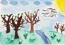 Árboles forestales y flores en la colina stock de ilustración