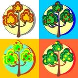 Árboles frutales con las frutas Foto de archivo libre de regalías