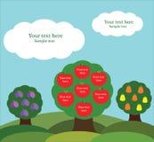 Árboles frutales con las manzanas, las peras y los ciruelos Imagen de archivo libre de regalías