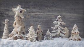 Árboles hechos en casa de la Navidad Imágenes de archivo libres de regalías