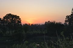 Árboles hermosos de la oscuridad de la puesta del sol Imagenes de archivo