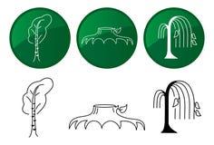 Árboles. Iconos del vector fijados. Fotografía de archivo libre de regalías