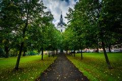 Árboles a lo largo de una trayectoria y de un kyrka de Katarina, en Södermalm, Estocolmo, imagen de archivo