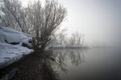 Banco del río en una niebla Imágenes de archivo libres de regalías