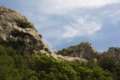 Árboles, montañas y cielo Foto de archivo
