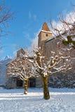 Árboles nevados delante del castillo de Gruyeres Imagen de archivo libre de regalías