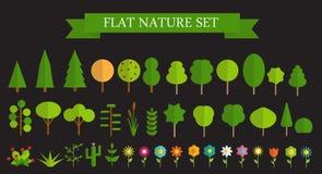 Árboles planos de moda de papel y vector fijado flores Foto de archivo