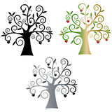 árboles. Tree vectorized, three different versions. Silhouette black and colored Royalty Free Stock Photo