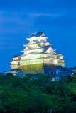 Árboles V anguloso del cielo de la puesta del sol del castillo de Himeji Jo Imágenes de archivo libres de regalías