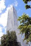 Árboles verdes del rascacielos y cielo azul Imagen de archivo