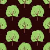 Árboles verdes del vector Modelo inconsútil de la historieta Foto de archivo libre de regalías