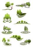 Árboles verdes en iconos de los paisajes Foto de archivo
