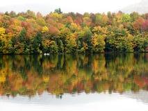 Árboles y charca coloridos de la caída Foto de archivo