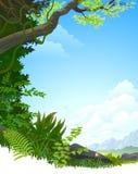 ÁRBOLES Y COLINAS DE LA SELVA DEL AMAZONAS ilustración del vector