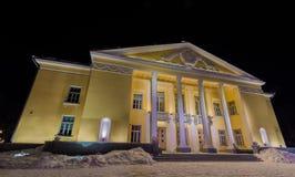 Árboles y edificios congelados Noche fría Fotografía de archivo libre de regalías