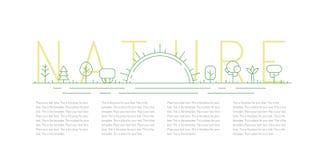 Árboles y fondo del vector del verde del esquema de la salida del sol Diseño de Minimalistic Parte dos Foto de archivo libre de regalías