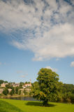 Árboles y nubes de la ciudad Fotografía de archivo
