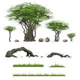 Árboles y otros elementos del paisaje stock de ilustración