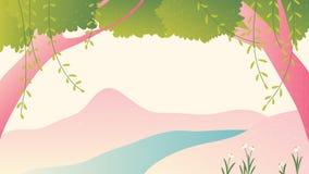 Árboles y paisaje del río stock de ilustración