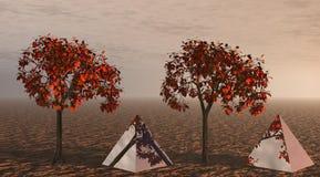 Árboles y pirámides anaranjados stock de ilustración