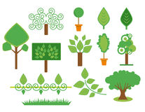 Árboles y plantas fijados stock de ilustración