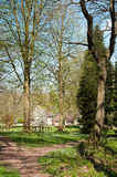 Árboles y siluetas de la primavera a lo largo de una trayectoria del parque Fotos de archivo