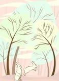 Árboles y vector del conejo ilustración del vector