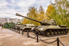 Área al aire libre de las muestras de la exposición de la diorama del museo de equipo militar soviético durante la Segunda Guerra Fotos de archivo libres de regalías