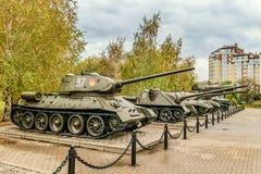 Área al aire libre de las muestras de la exposición de la diorama del museo de equipo militar soviético durante la Segunda Guerra Foto de archivo