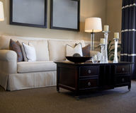 Área atractiva del salón con el sofá fotografía de archivo