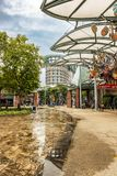 Área comercial en la isla de Sentosa en Singapur Fotos de archivo