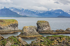 Área costal rochosa em Islândia Fotos de Stock