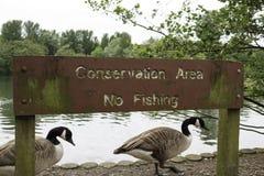 Área da conservação nenhum sinal da pesca Fotos de Stock Royalty Free