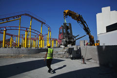 Área da construção no parque de diversões Imagens de Stock